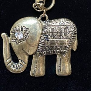 """Elephant Necklace Gold Metal 30"""""""